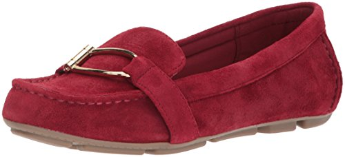 AK Anne Klein Sport Women's Petra Suede Loafer Flat, Wine, 8 M US Suede Loafers Shoes