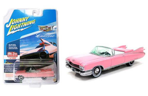 1959 Cadillac Eldorado Convertible Pink Limited Edition to 3600 pieces Worldwide 1/64 Diecast Model Car by Johnny Lightning JLCP7045