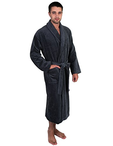 TowelSelections Men's Robe, Turkish Cotton Terry Velour Bathrobe Medium/Large Charcoal (Mens Velour Robes)