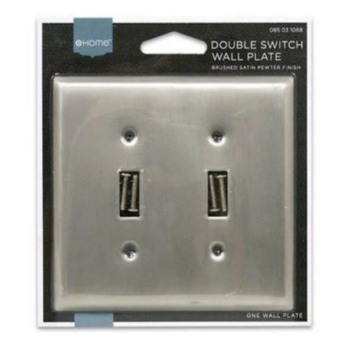 Christmas Pewter Plate - Brushed Satin Pewter Basic Double Light Switch Plate Home Decor Bathroom Bedroom Kitchen