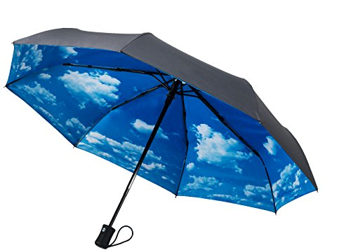 Crown Coast Pewter Grey With Sky Travel Umbrella - 60 MPH Windproof Lightweight for Men Women and Kids, Compact Travel Umbrellas in Multiple Colors (Umbrella Pro)