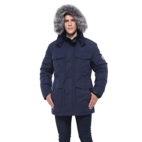 Rokka&Rolla Men's Water-Resistant Hooded Heavy Insulated Parka Jacket with Removable Faux-Fur Hood Trim ()