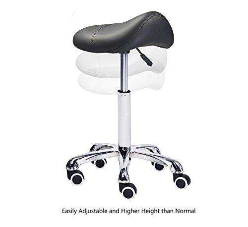 Grace & Grace Professional Saddle Stool Series Hydraulic Swivel Comfortable Ergonomic with Heavy Duty Metal Base for Clinic Dentist Spa Massage Salons Studio (Black) by Grace & Grace (Image #2)