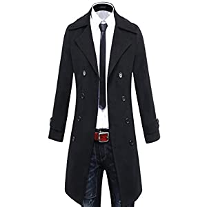 Benibos Men's Trench Coat Winter Long Jacket Double Breasted Overcoat (US:S/Asia L, 5625Black)