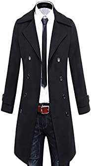 Beninos Men's Trench Coat Winter Long Jacket Double Breasted Over