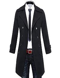 Benibos Men's Trench Coat Winter Long Jacket Double Breasted Overcoat