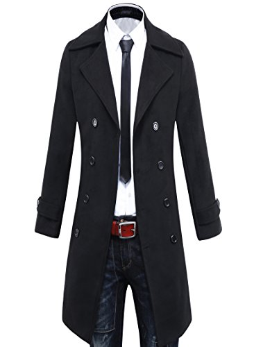 Beninos Men's Trench Coat Winter Long Jacket Double Breasted Overcoat (5625 Black, US:M/Asia XL)