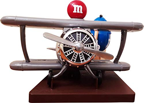 M&M Candy Dispenser Airplane Gray Military-Looking with Blue Standing on Brown Platform with Red M Ball on top Does NOT Come in A ()