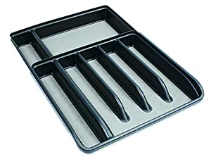 Rubbermaid No-Slip Silverware Cutlery Tray Organizer, Expandable, Black with Gray Base (1994522)