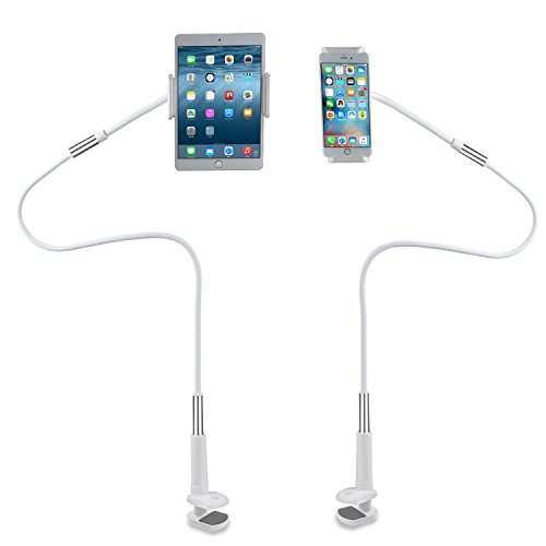 Flexible Mount Holder LINGCHEN Universal Adjustable Cell Phone Holder Tablet Bracket Flexible Long Arms Clip Clamp Mount Phone Stand for iPhone X iPhone 8 7 Plus iPad (120CM White)