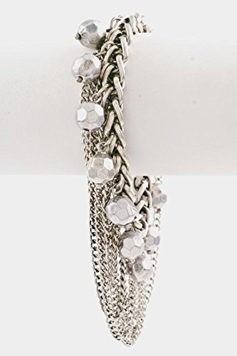 Karmas Canvas Chain with Drop Thin Layered Chain Ball Toggle Closure Bracelet (Burnished (Silver Ball Toggle Bracelet)