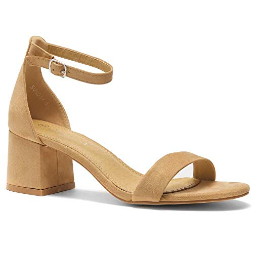 Herstyle Sunday Women's Open Toe Ankle Strap Block Chunky Low Heeled Sandal Comfortable Office Pump Shoes Camel 10.0 (Best Of Camel Toes)