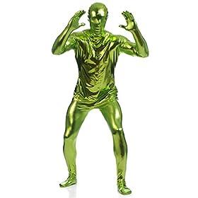 - 41BxtTtmOSL - Ensnovo Mens Shiny Metallic Zentai One Piece Spandex Skin Suits Costume