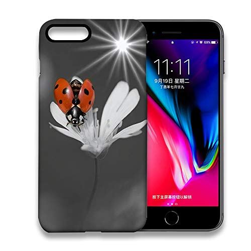 NOOU Fingerprint Proof Shock Proof Thin Non Slip Protective Cover for Apple iPhone 7 Plus/iPhone 8 Plus- Ladybird with Its Wings White