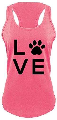 Racerback Tank Love Dog Big Graphic Hot Pink L (Big Dog Tank Top)