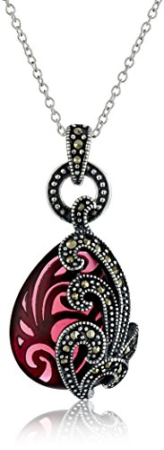 (Sterling Silver Oxidized Marcasite and Garnet Colored Glass Filigree Teardrop Pendant Necklace, 18