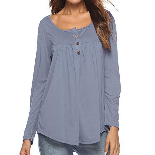 Kiess Women's Long Sleeve Henley Shirt Casual Buttons Tops Ruched Tunic Blouse...