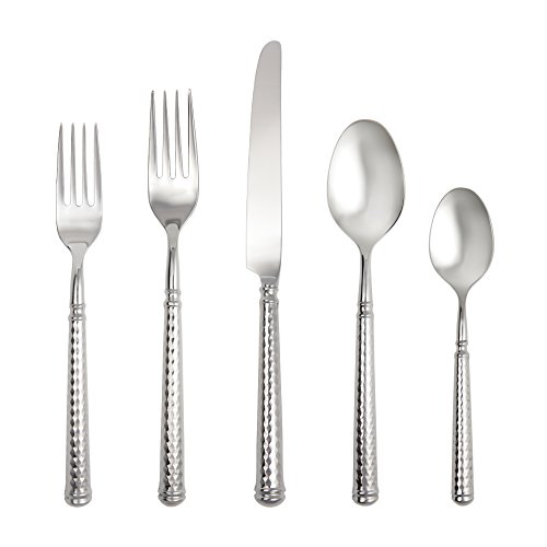 Solitaire 5 Setting Place Piece - Fortessa Solitaire 18/10 Stainless Steel Hollow Handle Flatware 5 Piece Place Setting, Service for 1