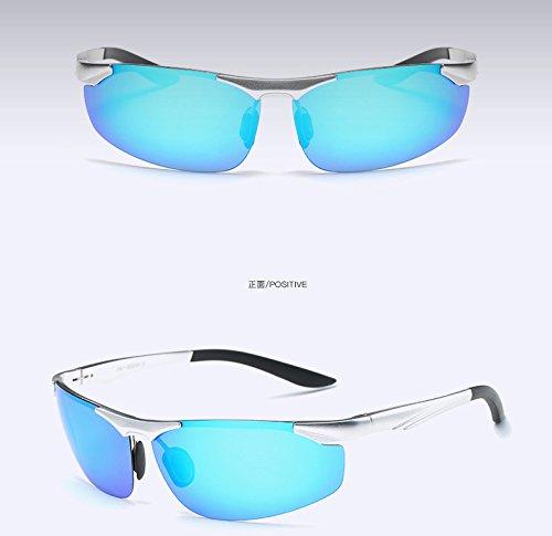 oscuro polarizadas color Sky gafas sin UV400 Mens circular aluminio gafas gafas de en de de reborde sol lentes estilo sol polarizadas de espejo de Blue azul TIANLIANG04 wUq4ES4