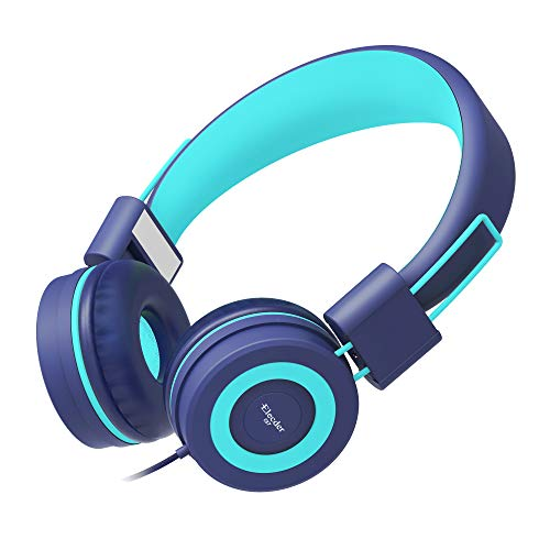 Elecder i37 Kids Headphones Children Girls Boys Teens Foldable Adjustable On Ear Headphones 3.5mm Jack Compatible iPad Cellphones Computer MP3/4 Kindle Airplane School Tablet Teal