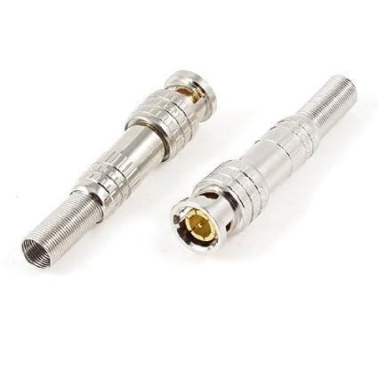 eDealMax 2 piezas de Plata tono conectores Macho BNC adaptadores de Cable coaxial