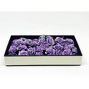 "1"" Purple Paper Flowers Paper Rose Artificial Flowers Fake Flowers Artificial Roses Paper Craft Flowers Paper Rose Flower Mulberry Paper Flowers, 20 Pieces 6"