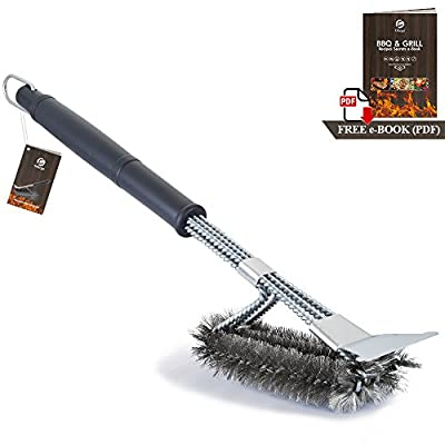 Ofargo Grill Brush and Scraper, Heavy Duty 3-in-1 Stainless Steel Woven Wire Bristles BBQ Cleaner Brush with Strength Clips for Cleaning Weber, Traeger, Char Broil, Kamado Grill Grates (18'' Handle)