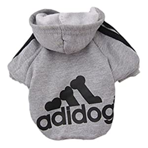 Pet Dog Clothes Coat Soft Cotton Adidog Clothing 7 Colors Small Size S M L Xl XXL Dog Jacket (S, Gray)