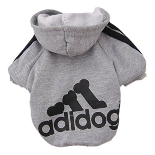Idepet Soft Cotton Adidog Cloth for Dog, S, Grey