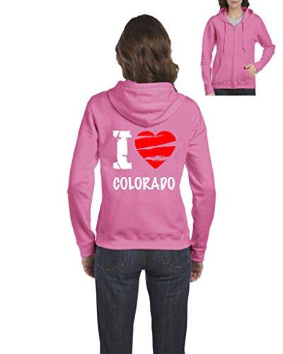 Ugo I Love Colorado Home Of Cu Uccs University Of Colorado Springs Map Full Zip Womens Hoodie