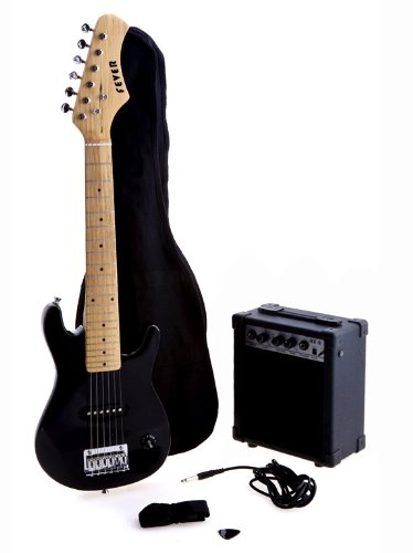 D'Luca Kids 30 Inches Electric Guitar Package 1/4 Size Black