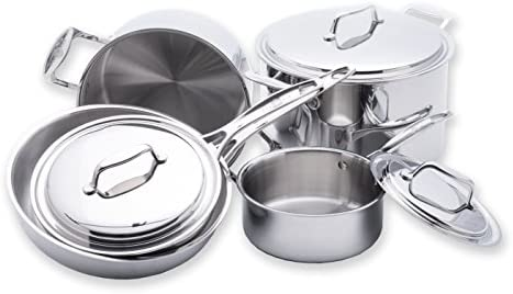 USA Pan 1550CW-1 5-Ply Stainless Steel 8 Piece Cookware Set, Oven and Dishwasher Safe, Made in the USA, Silver