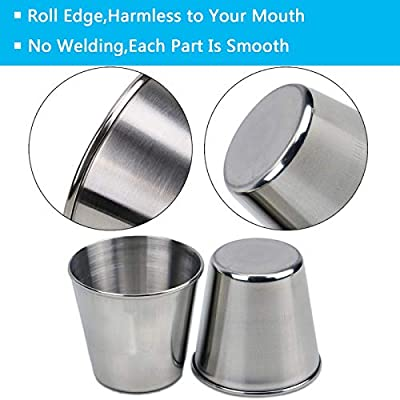 Timoo 6 PCS 1.5 Ounce Stainless Steel Shot Cups Shot Glass Drinking Vessel