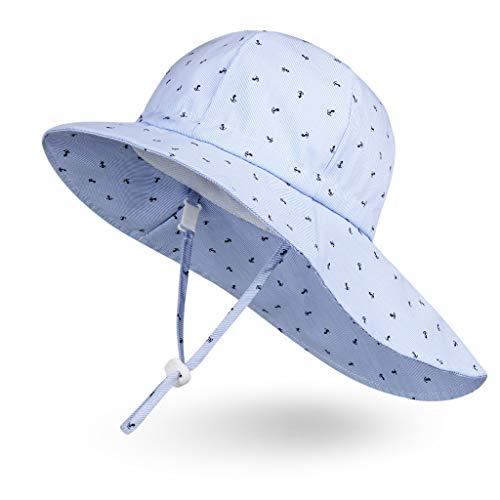 Ami&Li Baby Kids Summer Flap Cover Cap Cotton Anti-UV UPF 50+ Sun Hat - M: Boat Anchor