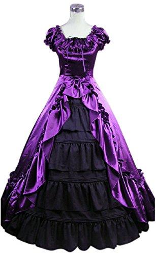 Gothic Vampiress Halloween Costume (Nuoqi Gothic Victorian Costume Women's Halloween Cosplay Dress (Small, Black&Purple))