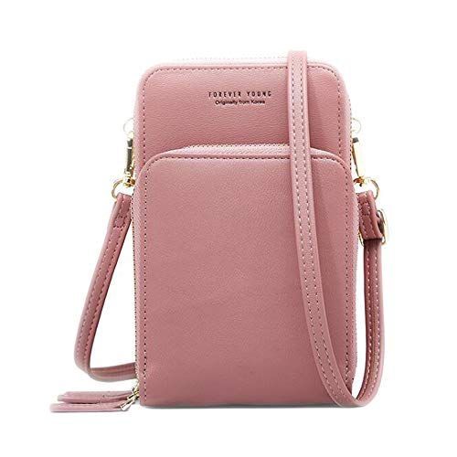 Cellphone Purse Small Cross body Bag Waterproof Smartphone Wallet Mobile phone bag for Women (Pink)