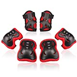 BOSONER Kids/Youth Knee Pad Elbow Pads Guards Protective Gear Set for Rollerblade Roller Skates Cycling BMX Bike Skateboard Inline Skatings Scooter Riding Sports (Black/Red, Small (3-8 Years))