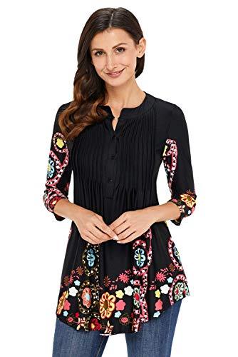 Moda Pieghe Lunga Manica Rotondo Button Fit Eleganti Vita Camicetta Blusa Alta Casual Shirts Grazioso Stlie Stampate Donna Schwarz Bluse Pattern Camicie Primaverile Slim Collo UCqX5wqxYn