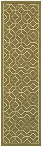 (Oriental Weavers 7 ft. 6 in. Geometric Pattern Runner Rug in Green)