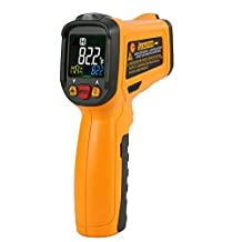Protmex Non Contact Infrared Thermometer PM6530B Digital Infrared IR Thermometer Temperature Tester Temperature Gun Color Display With 12Point Aperture Temperature Alarm Adjustable Emissivity Function