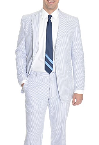 Kroon Classic Fit Blue Striped Cotton Suit-40-Regular-40R for sale  Delivered anywhere in USA