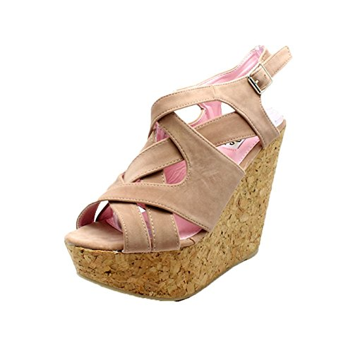 Bride Compensée Femmes Sandales sendit4me Chaussures Semelle Rose Plateforme Suédine nOgHEwxvR