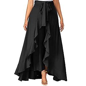SBJ COLLECTIONS Women' Ruffle Pants Split High Waist Maxi Long Crepe Palazzo Overlay Pant Skirt