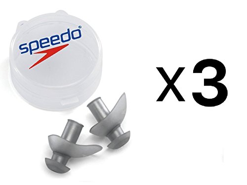 - Speedo FIT Swimming Ergo Ear Plugs with Case - Silver (Pack of 3)
