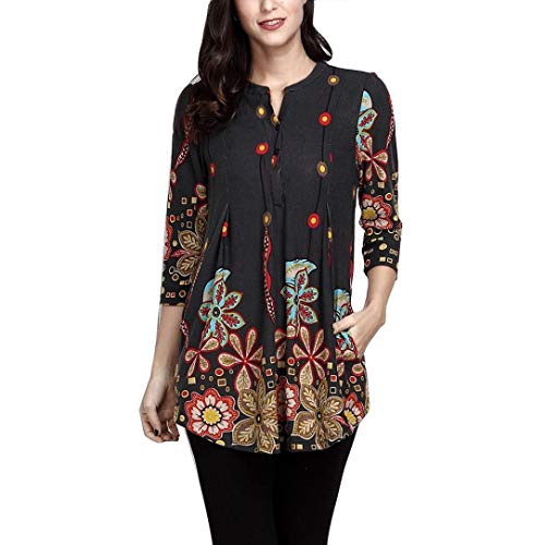 T Shirts for Womens, FORUU Half Sleeve V Neck Button Printed Long Blouses Tops – DiZiSports Store