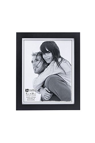 Malden 8x10 Picture Frame - Wide Real Wood Molding, Real Glass - Black