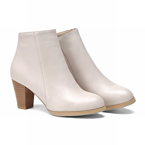 Carolbar Womens Rits Fashion Simple High Chunky Heel Korte Laarzen Beige