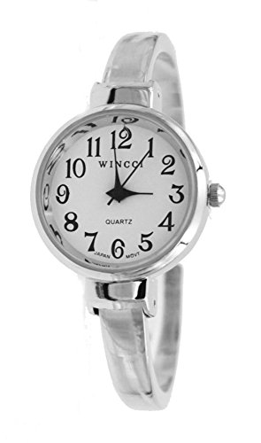 (Women's Classic Dainty Easy Read Silver Tone Bangle cuff Watch)