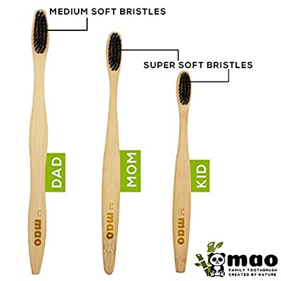 Mao Bamboo Toothbrush | 9 Pack for the WHOLE FAMILY | 3 Sizes Individually Numbered Perfect for Kids & Adults | Eco-Sustainable Charcoal Infused Soft & Medium Bristles | Natural & Organic WOOD Handle