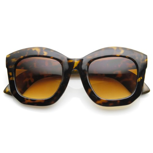 zeroUV - Oversized Thick Frame Angled Edge Horn Rimmed Sunglasses (Shiny-Tortoise - Sunglasses Thick Ce With Frame